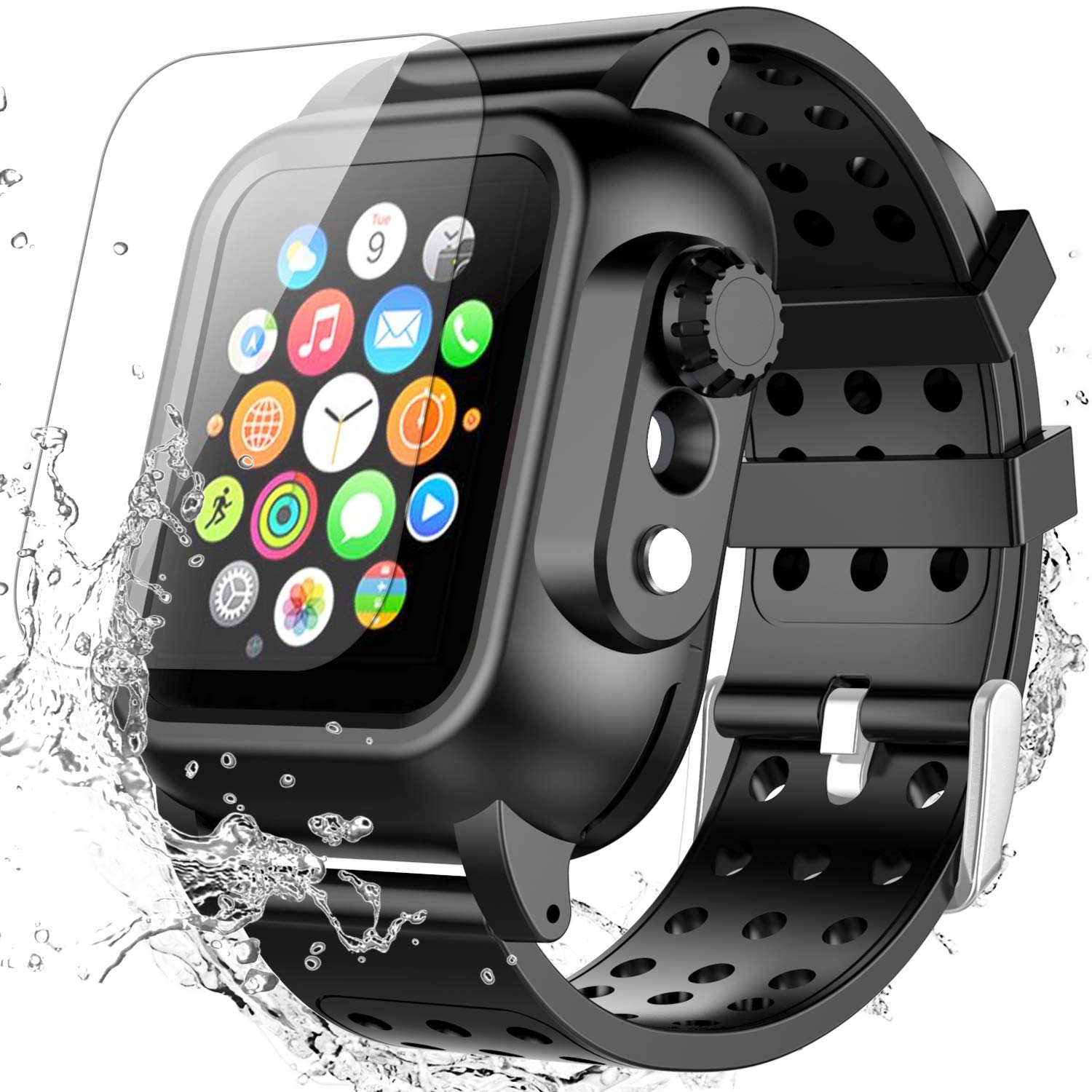 Apple Watch Series 4 44mm Case with Band, SPIDERCASE Built-in Screen Protector Full Body Rugged Armor Case, Daily Waterproof, Anti-Scratch, Shockproof, Soft Silicone Band for Apple Watch Series 4 44mm