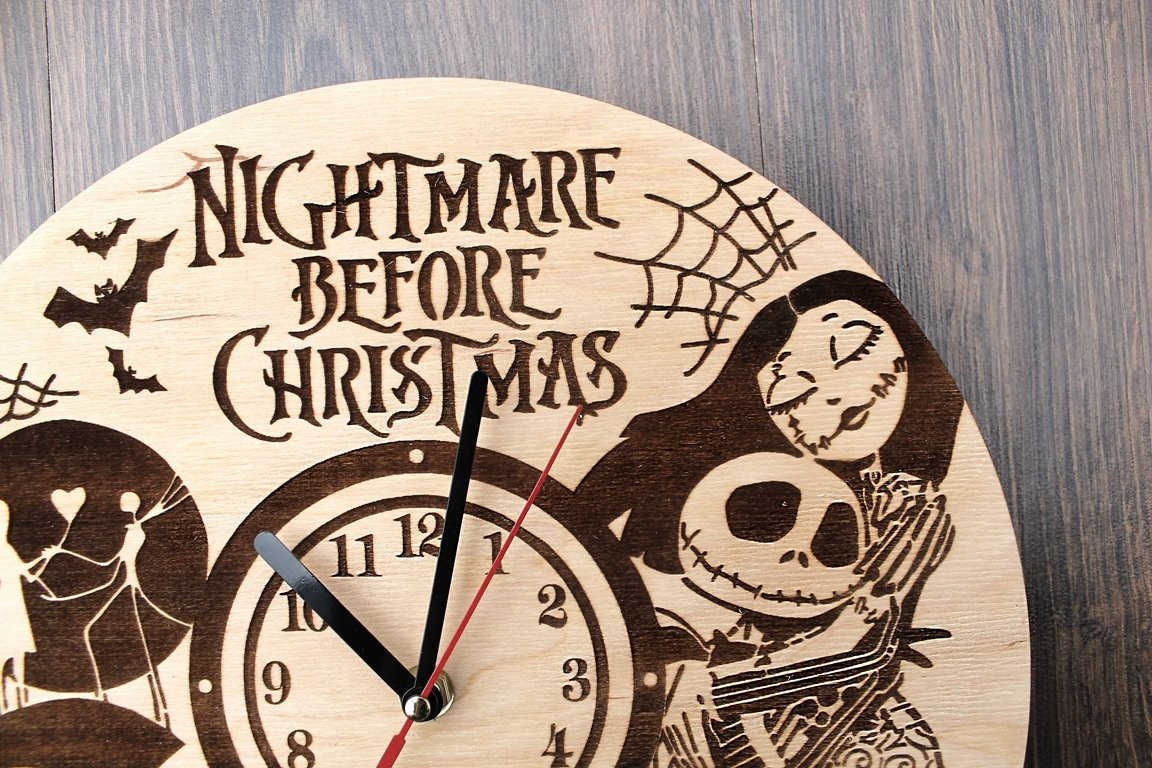 Jack Skellington Sally Nightmare before Christmas Design Real Wood Wall Clock - Eco Friendly Natural Nursery Wall Decor - Creative Gift Idea for Teens and Youth by Wood Crafty Shop (Image #6)