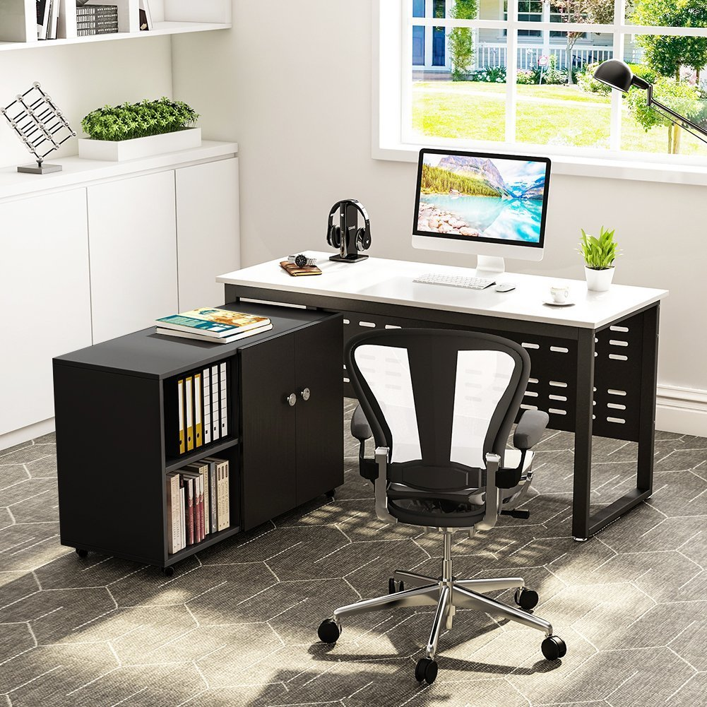 Tribesigns 55 inch Computer Desk,L-Shaped Desk with Cabinet Storage, Office Writing Desk with Bookcase &Printer Stand for Home Office