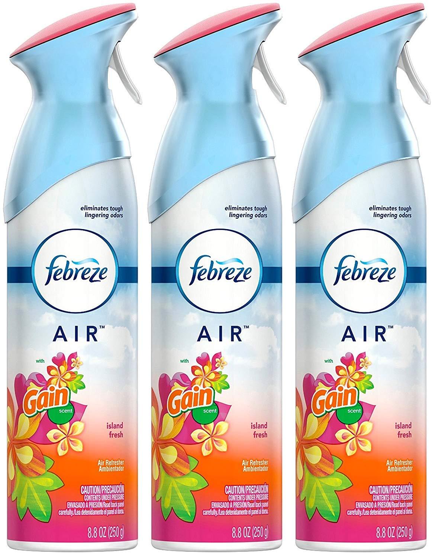 Febreze Air Freshener Spray - Gain Island Fresh - Net Wt. 8.8 OZ (250 g) Per Bottle - Pack of 3 Bottles