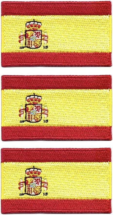 Paquete de 3 insignias Tanto de bandera de España bordadas para coser en plancha, cada una de 65 mm x 40 mm: Amazon.es: Hogar
