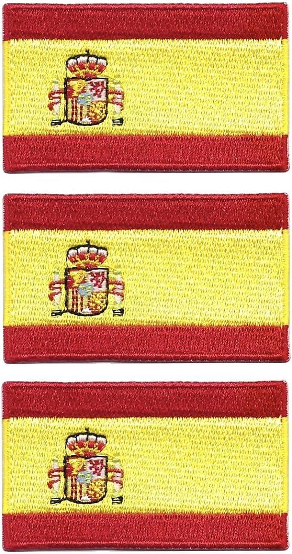 Tanto - Juego de 3 parches bordados con la bandera de España para coser o planchar (65 x 40 mm): Amazon.es: Joyería