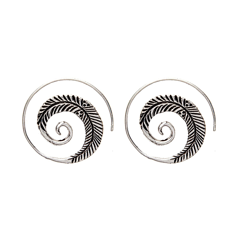 81stgeneration Messing Silber Ton Teardrop Dotwork Spiral Ethnische Ohrringe