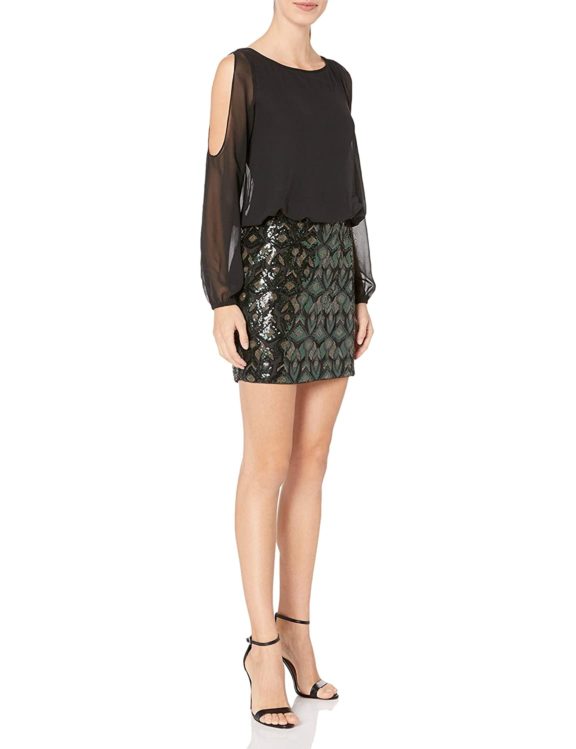 Aidan by Aidan Mattox Womens L//s Cold Shoulder Chiffon Blousson Cocktail Dress with Stretch Sequin Skirt