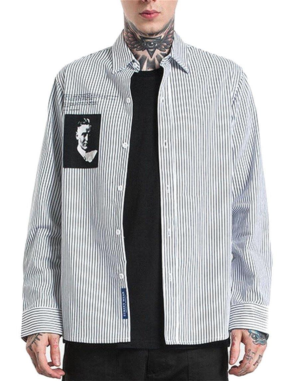 mydeshopMen Casual Button Down Turn Down Collar Striped Fashionable Long Sleeved Shirt