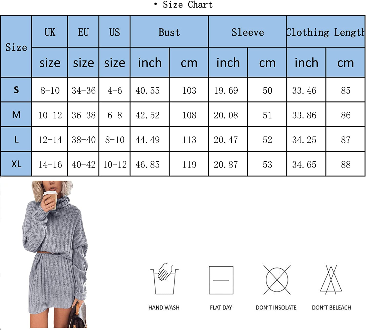 Yidarton Womens Long Sleeve Turtleneck Jumpers Casual Knitted Dress Sweater Dress Pullover Blue
