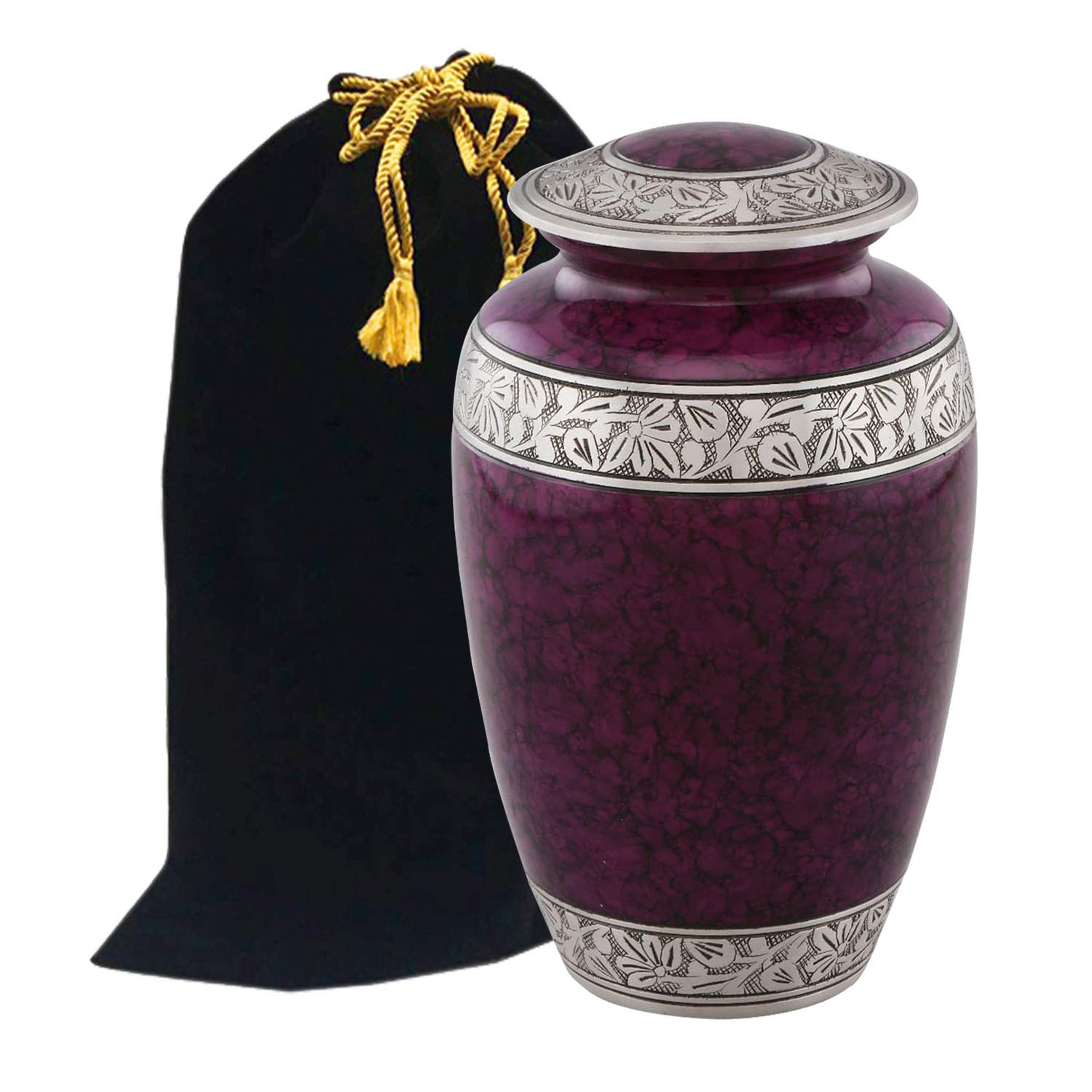 Eternitymart Classic Shimmering Fire Cremation Urn - Affordable Metal Urn - Handcrafted Solid Metal Urn for Ashes, Adult Cremation Urn with Free Velvet Bag (Wine) by Eternitymart