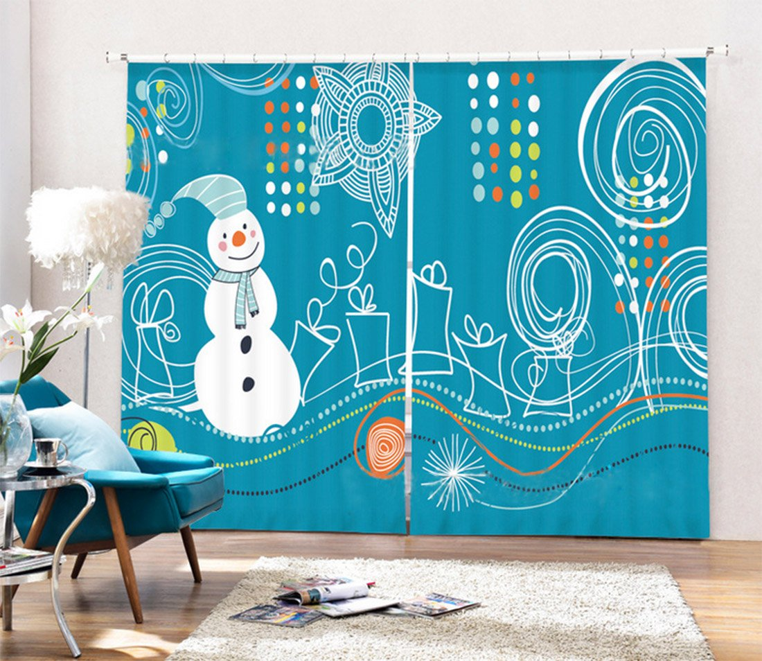Christmas Decor Curtain for Window by LB , Children Christmas Impression Drawing Snowman Gift Box, Living Room Kids Room Window Drapes, 80x95 Inches (2 Panels Set Size) , Blue White