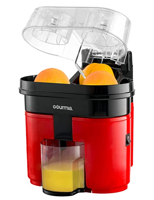 Gourmia GCJ200 Electric Citrus Juicer Machine- Dual Cone Heads Built In Slicer - Removable Pulp Strainer - 500mL - 90W - ETL Certified - Red