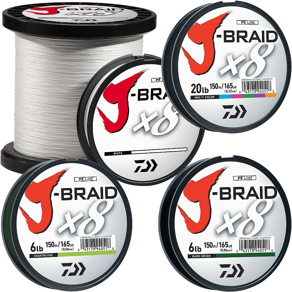 Daiwa JB8U150-2500CH J-Braidx8 150 lb Test Fishing Line, Chartreuse, 2500 Meters/2750 Yards by Daiwa