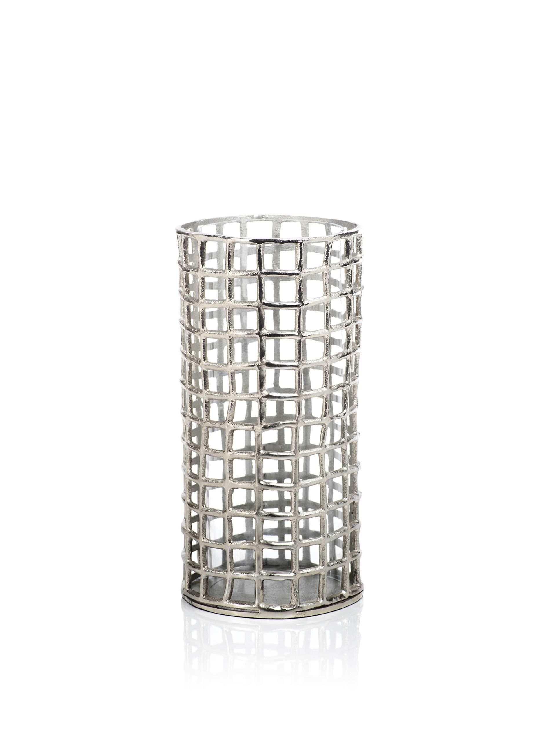 Zodax Kiah 13'' Tall Metal Candle Holder Hurricane, L, Silver
