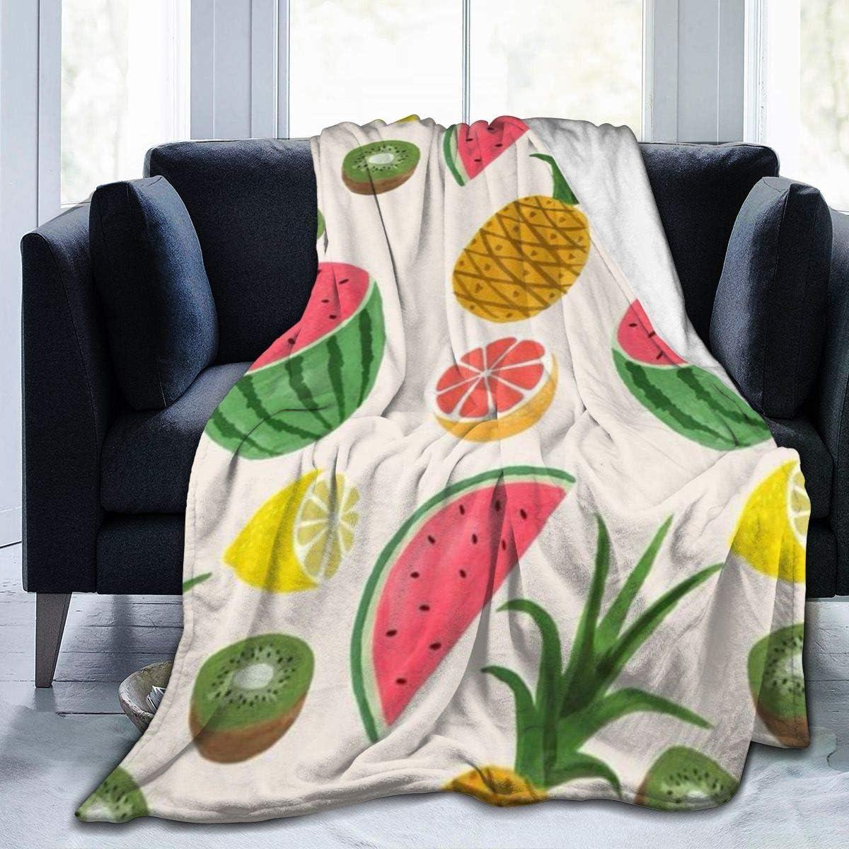 AUISS Plush Throw Velvet Blanket Watermelon Pineapple Fluffy Fleece Carpet Office Bedspreads for Kids Cozy Sleep Mat Pad Flannel Cover for All Season
