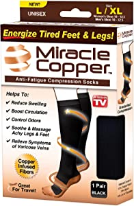 Miracle Copper Socks (Extra Firm) by Ontel (Large/Extra Large, 1 Pair)