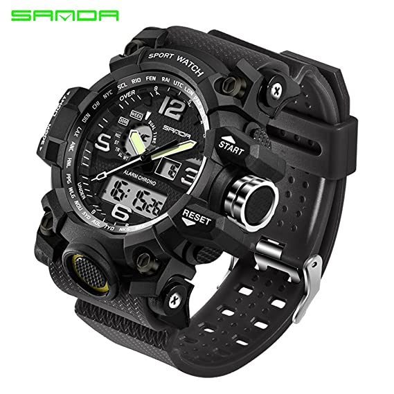 9dec141f2a7 Amazon.com  2016 New Brand SANDA Fashion Watch Men G Style Waterproof Sports  Military Watches Shock Men s Luxury Analog Quartz Digital Watch (Black)   Sports ...