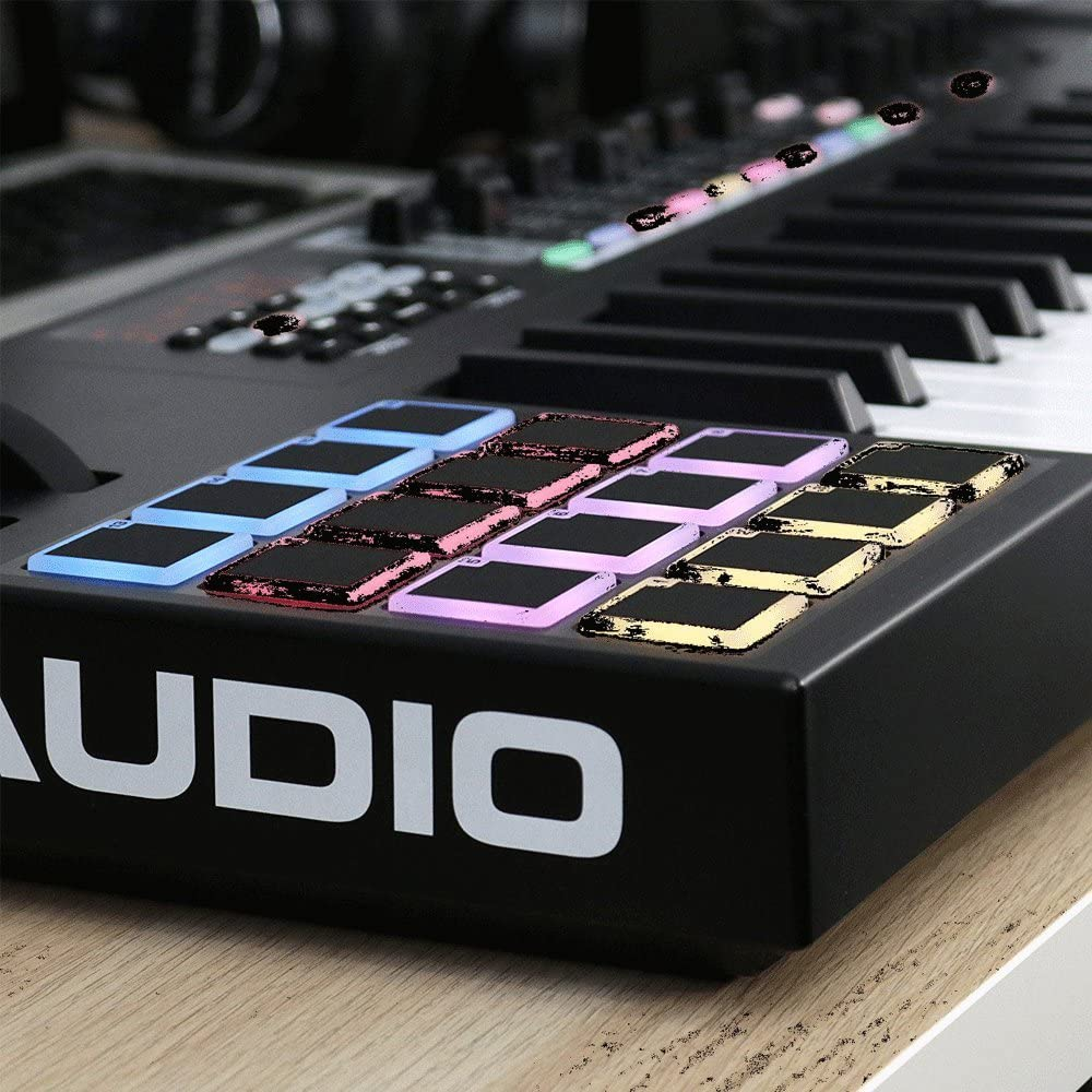M-Audio Code 49 Black Top Value Kit!! 49-Key USB MIDI Keyboard Controller with X//Y Touch Pad 16 Drum Pads // 9 Faders // 8 Encoders + Keyboard Stand//Bench Pak with Sustain Pedal Dual MIDI Cable