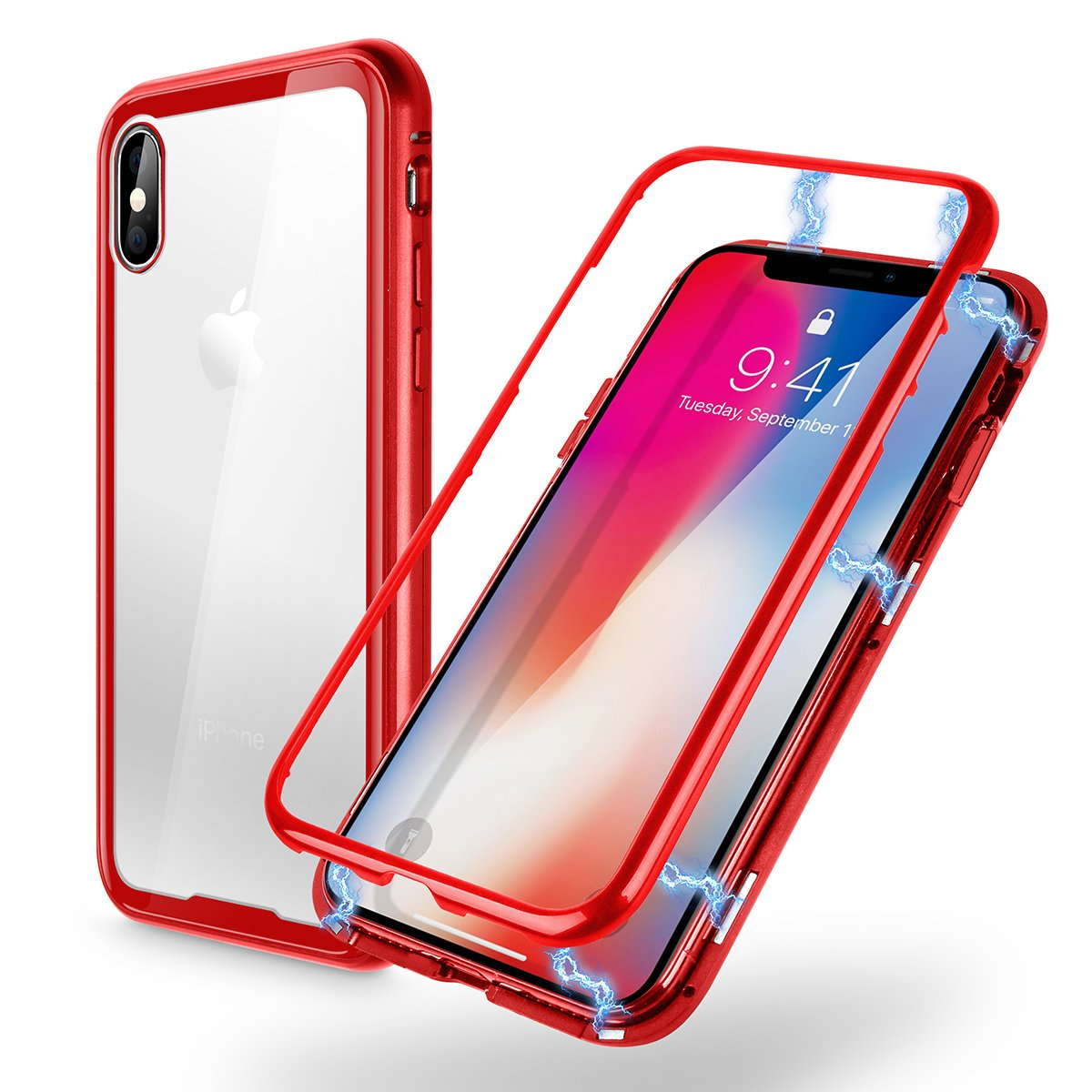 iPhone X Magnetic Metal Frame Tempered Glass Back Case, AICase Luxury Magnetic Adsorption Clear Tempered Glass Hard Back Cover With Built-In Magnets Metal Bumper Framefor Apple iPhone X (Red)