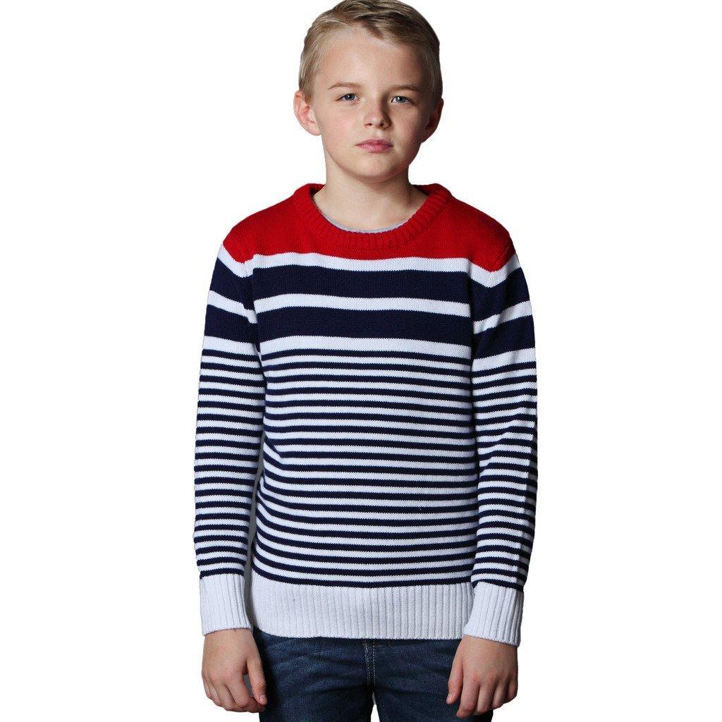 Leo&Lily Big Boys' Fine Wool Blend Christmas Red Stripe Sweater (14)