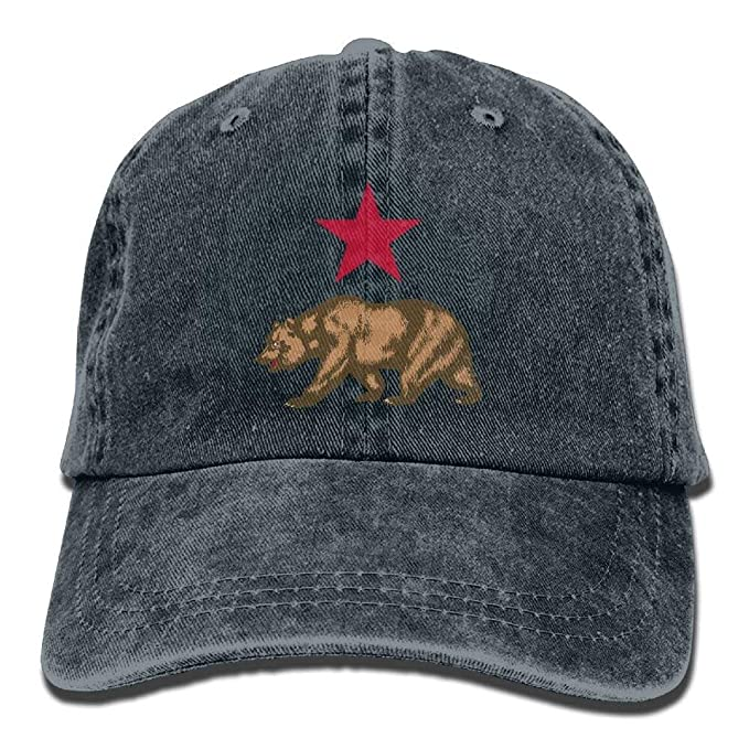 19861e66 Image Unavailable. Image not available for. Color: roylery California Star  and Bear Unisex Funny Adjustable Baseball Cap Dad Hat