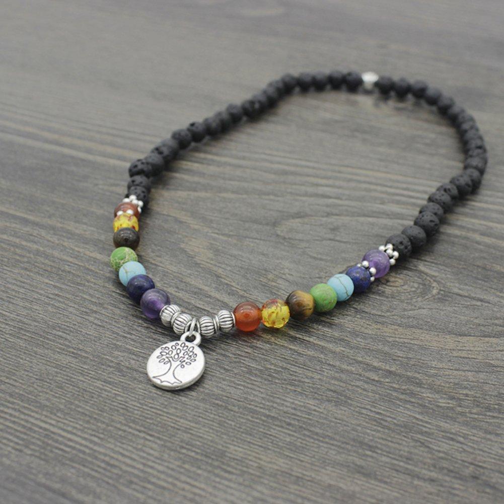 /Bracelet Arbre De Vie Pendentif 36/cm avec sac /à bijoux aiuin 7/Chakra Pierre Balance Bracelet Homme Femme Bracelet de reiki//de th/érapie /énerg/étique Yoga/