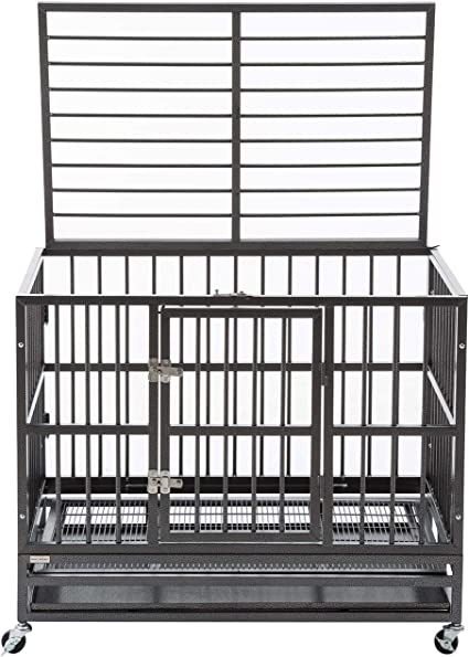 Sliverylake Dog Cage Crate Kennel Heavy Duty Double Door Pet Cage Wmetal Tray Wheels Exercise Playpen