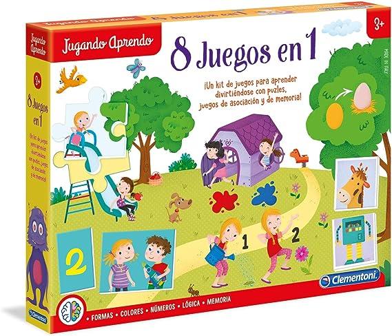 Clementoni- Kit 8 Juegos Aprender y Jugar, Multicolor, Miscelanea ...