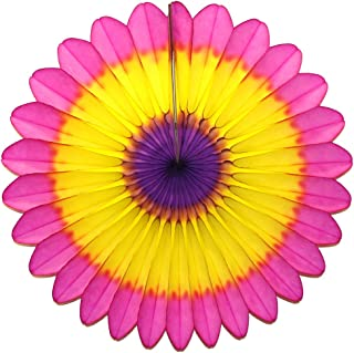 product image for 6-Pack 18 Inch Tissue Paper Fanburst Decoration (Easter - Cerise/Yellow/Purple)