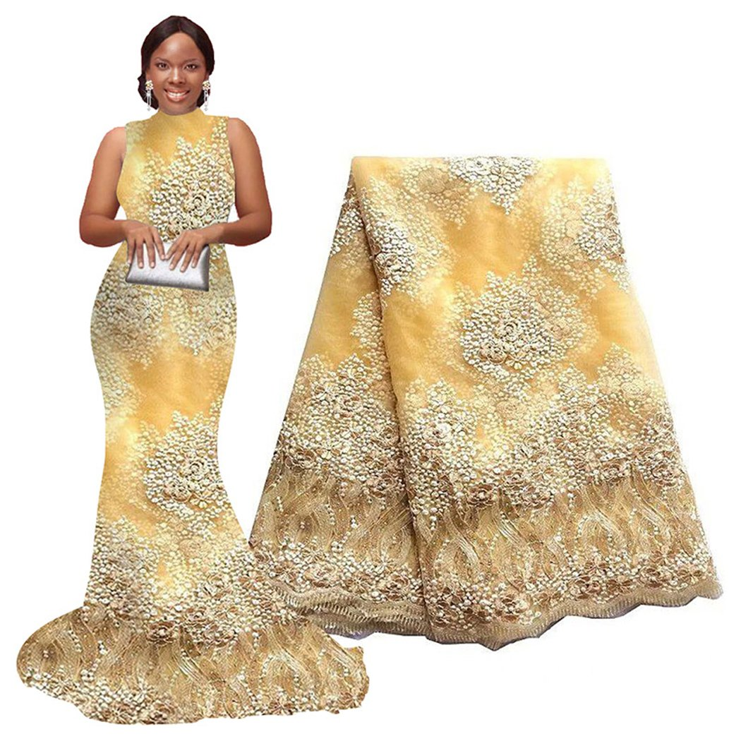 5 Yards African Lace Fabrics Nigerian French Beaded Tulle Fabric (Yellow)