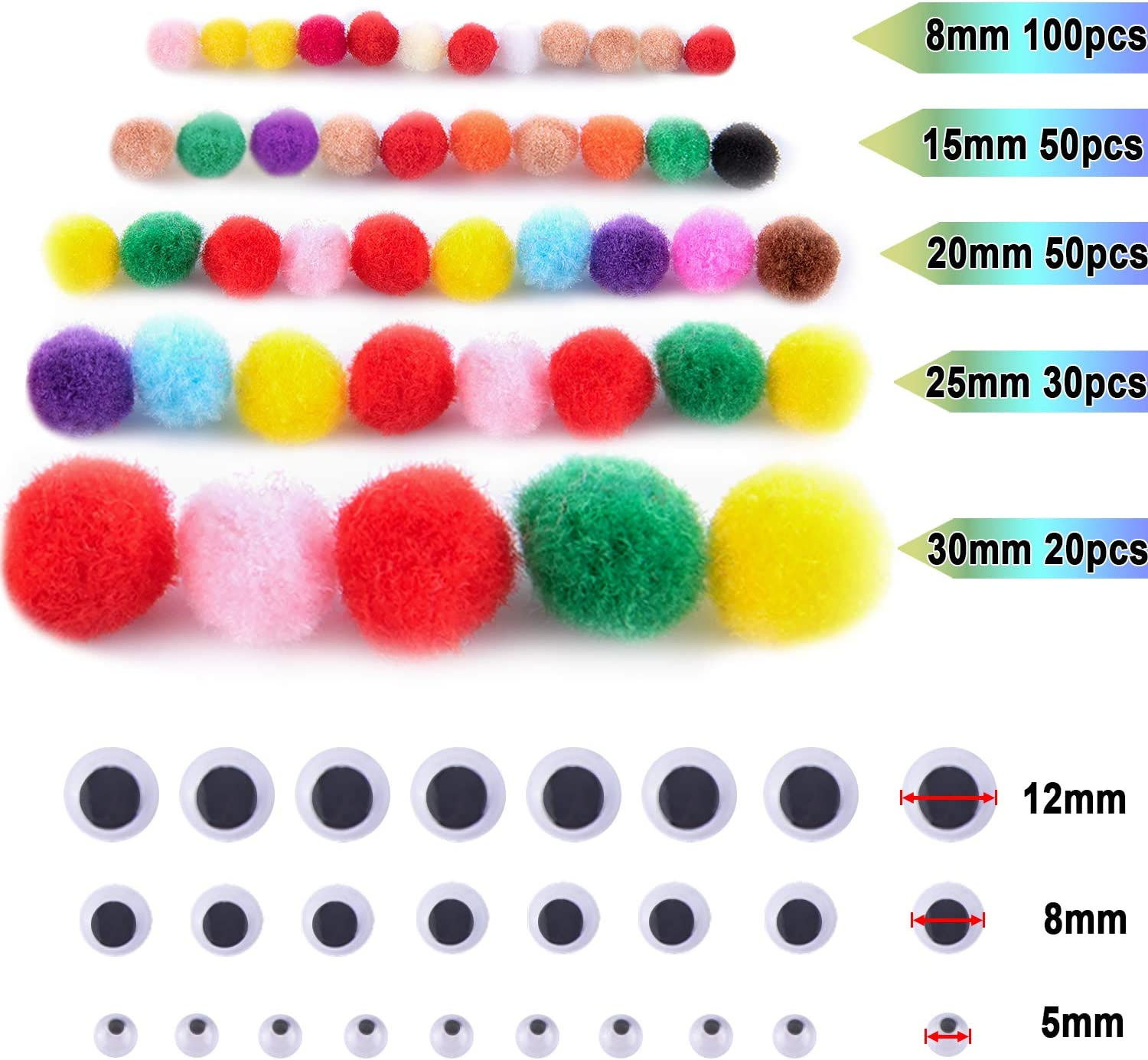 BQTQ 800 Pcs Pipe Cleaner Craft Supplies Set Including 350 Pcs Pipe Cleaner Chenille Stems 250 Pcs Pom Poms 200 Pcs Self Adhesive Wiggle Eyes for DIY Crafts Party Decoration Arts Projects