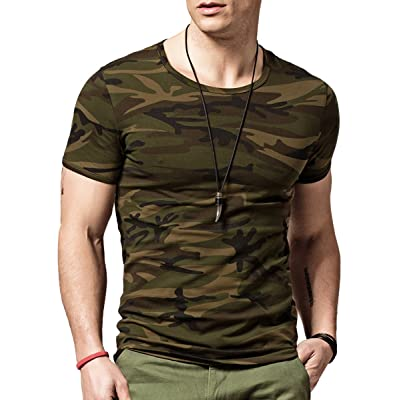 XSHANG Mens Camo T Shirts Comfort Soft Fitness Stretchy Crew Neck Tee