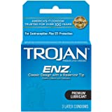 TROJAN ENZ Lubricated Latex Condoms, 0.04 lb, 3 Count (Pack of 1)