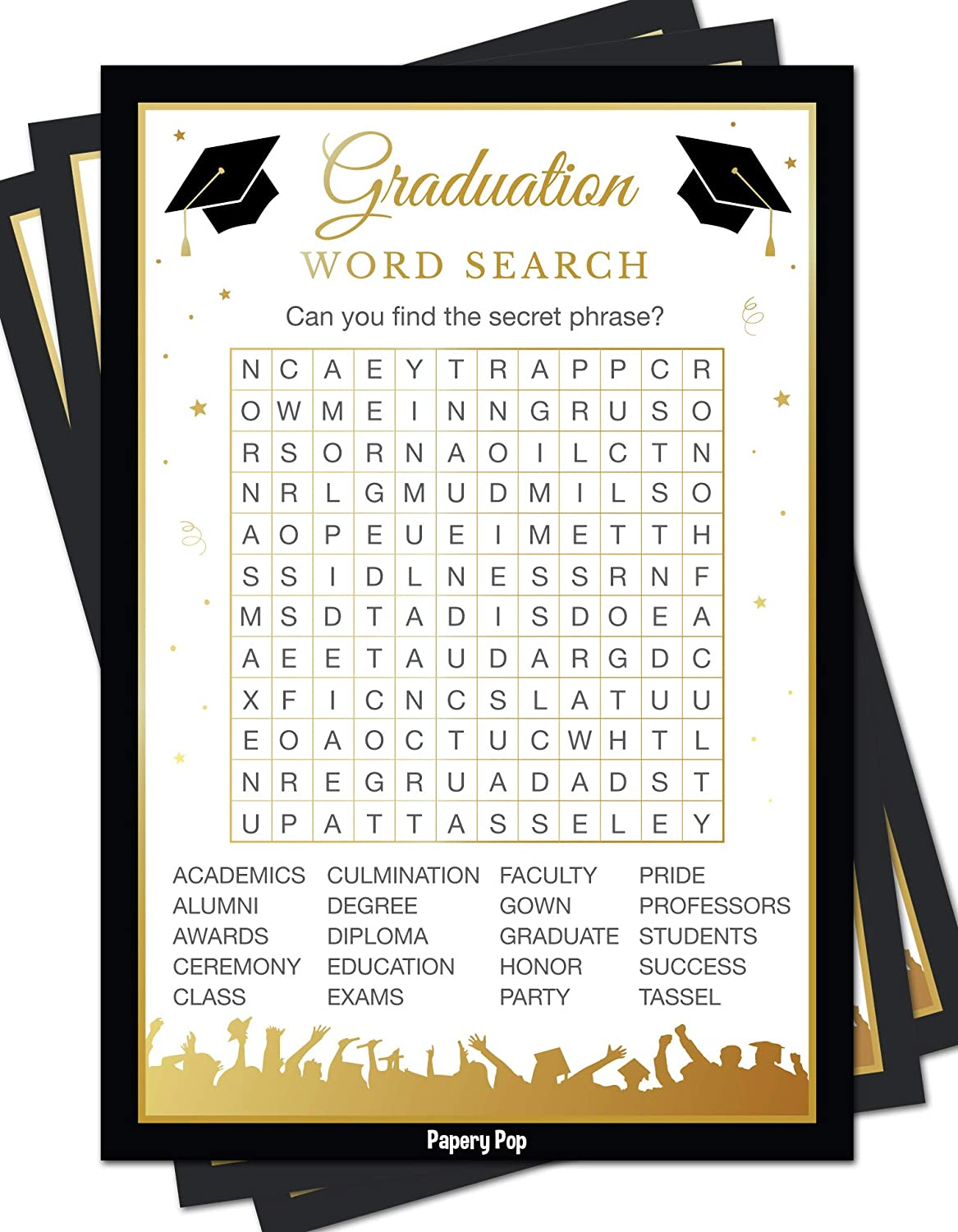2019 Graduation Party Word Search Game Cards (50 Pack) - Graduation Party  Games Ideas Activities Supplies - Grad Celebration - High School or College