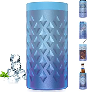 Can Cooler, 4-IN-1 Slim Can Cooler, Double Walled Insulated Stainless Steel Slim Can Cooler for 12 Oz Standard Can / Tall Slim Can / Beer Bottles / As Drink Cup