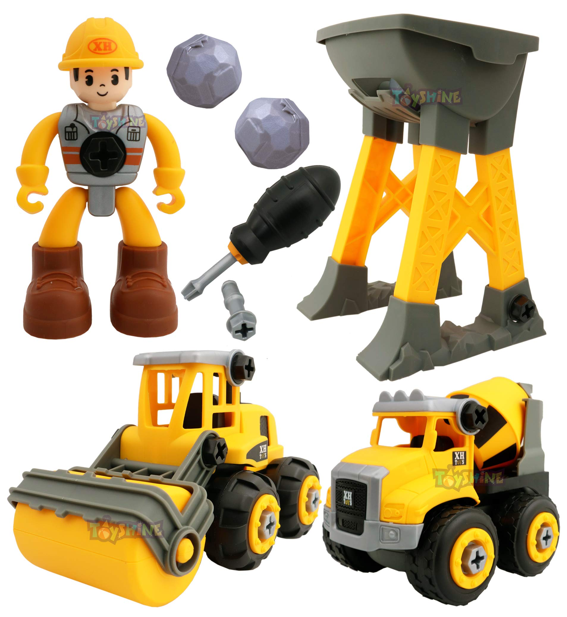 Toyshine 8 Pcs DIY Take Apart Construction Trucks Playset for 3,4,5,6 Year Olds Kids STEM Building Toy