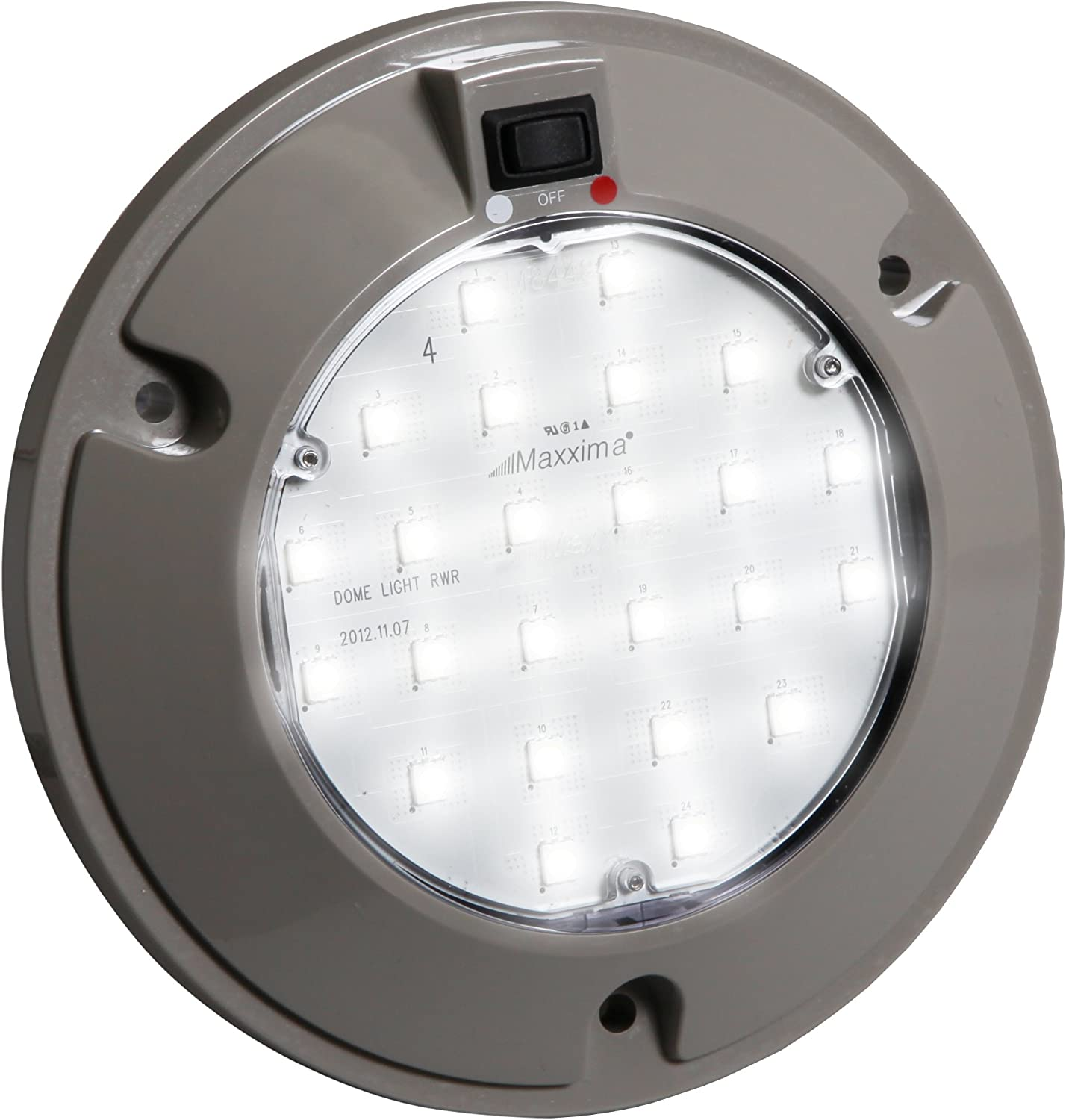 """Maxxima M84434RW 24 LED Red/White 6"""" Interior Dual Color Dome Light with Three Position Rocker Switch 71tcMDRnGLLSL1500_"""