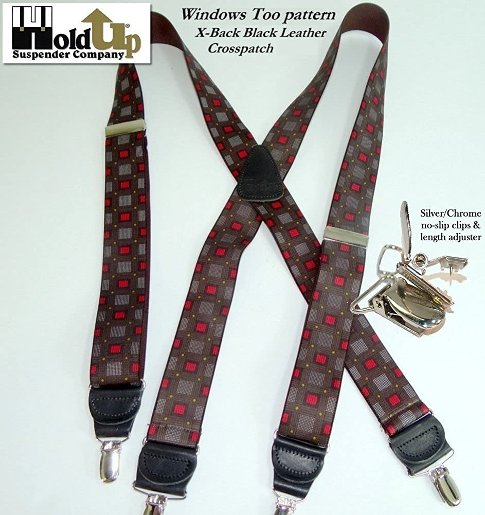 Hold-Ups Windows Too Pattern X-back Designer Series Suspenders with Nickel Clips