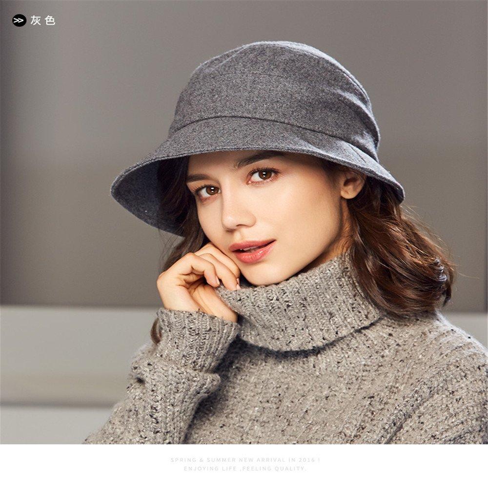 b011a0d14be Kenmont Women s Bucket Hat Elegant Wool Cloche Winter Hats Short Brim  Slouchy Fedora Cap (Grey) at Amazon Women s Clothing store