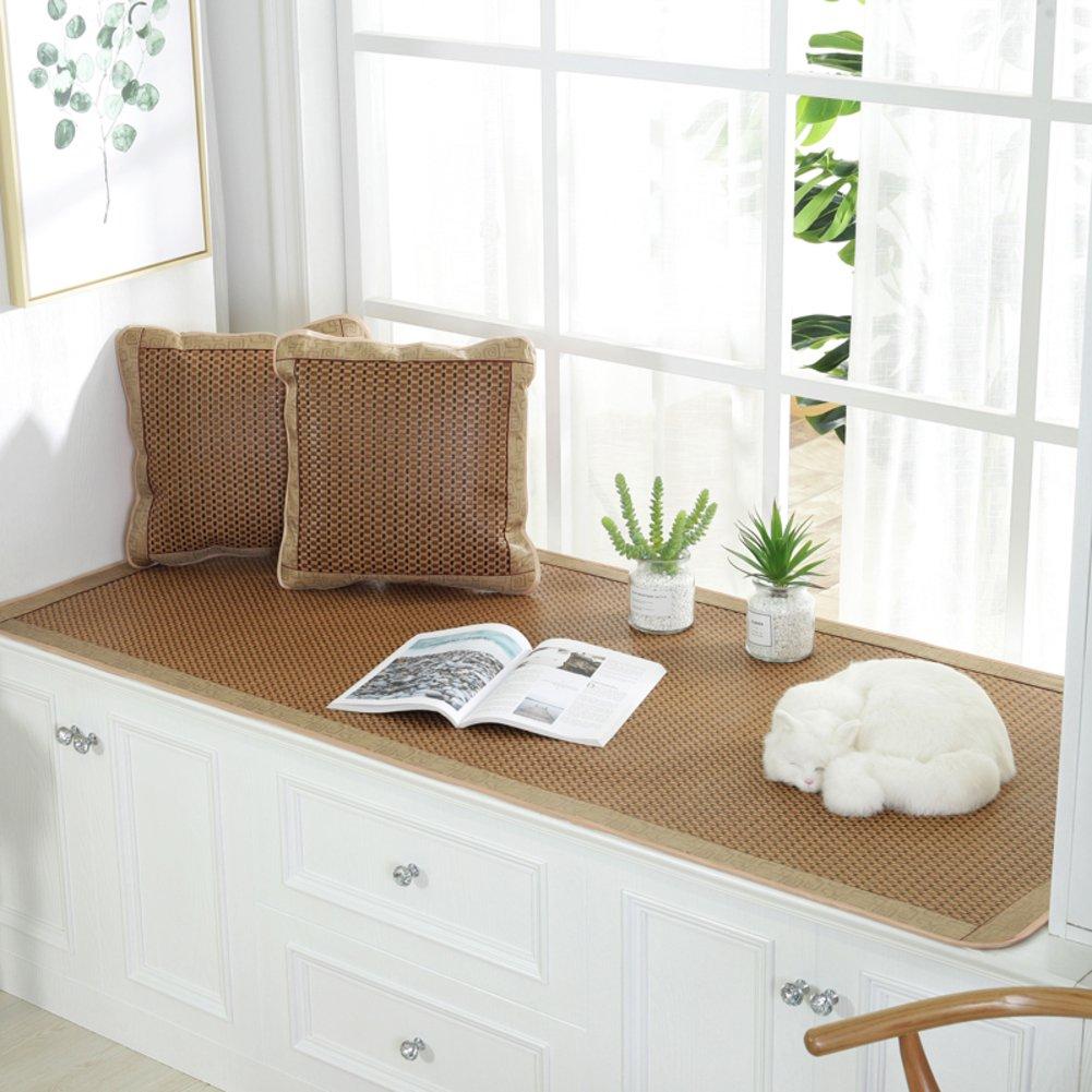 GX&XD Summer Cool mat Bay Window pad,Bay Window mat Cover Window sill mat Rattan mat Matt mat Seats sill pad Balcony mat Sofa slipCovers Cushion-B 70x150cm(28x59inch)