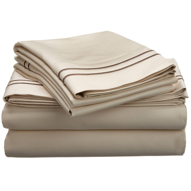 Blue Nile Mills 800-Thread-Count Sheet Set, Premium Long-Staple Cotton, King, Ivory/Taupe