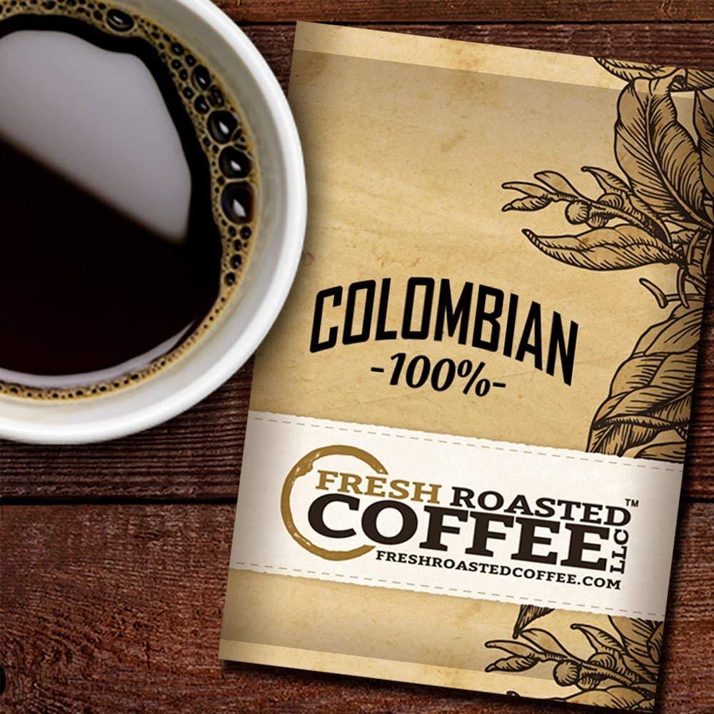 Fresh Roasted Coffee LLC, Colombian Coffee, 1.75 Ounce Pre-Ground Fractional Packages, 42 Portion Packs by FRESH ROASTED COFFEE LLC FRESHROASTEDCOFFEE.COM