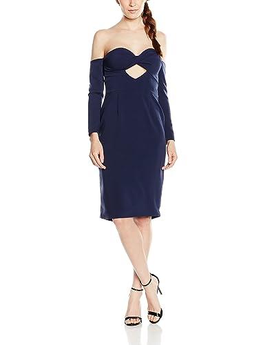 Lavish Alice Navy Bandeau Cut-Out Midi Dress, Vestito A Maniche Lunghe Donna