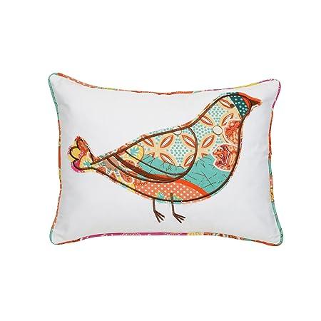 Levtex home Zanzibar Bird Pillow, 14×18, White, Orange