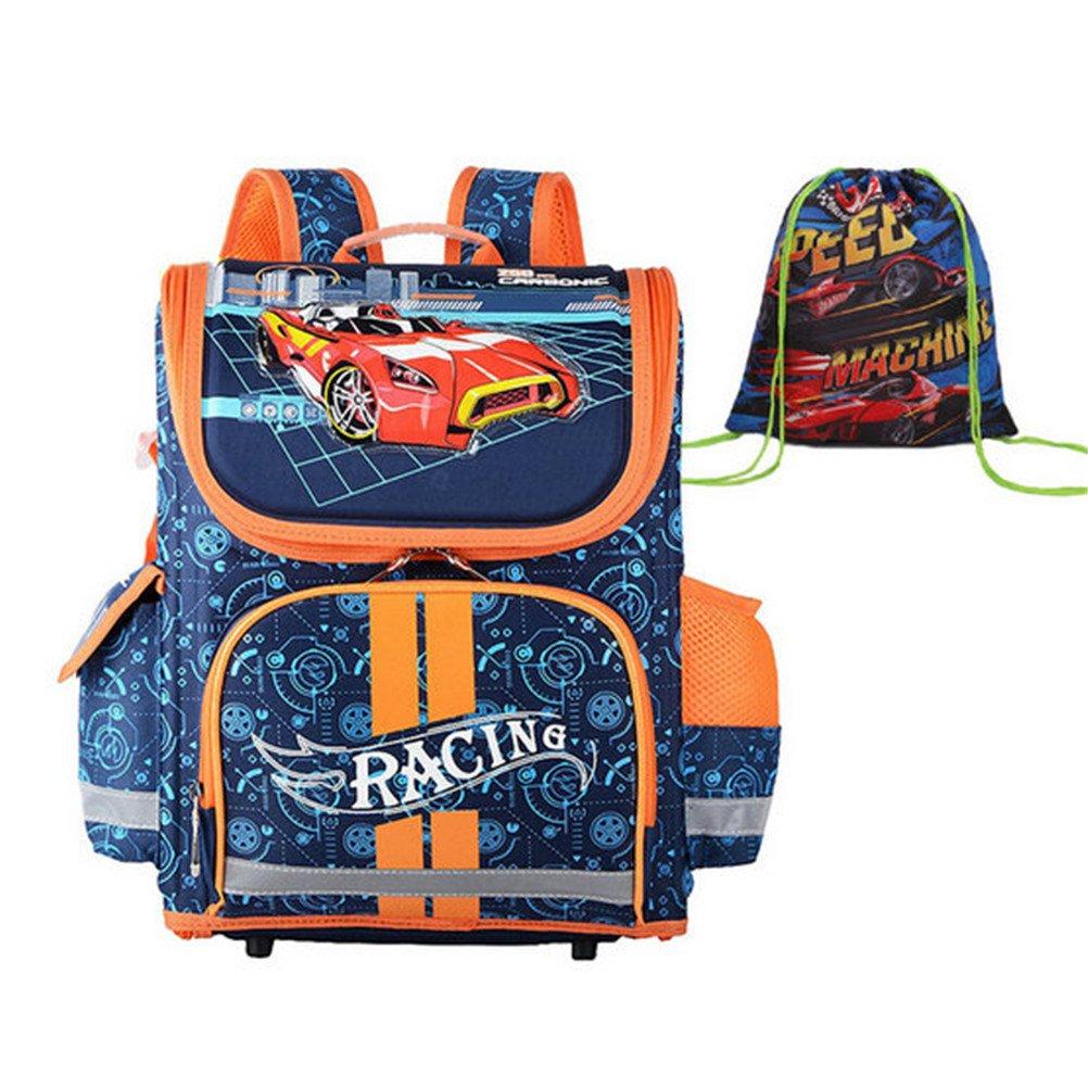 kalakkキッズ通学バッグGrade 1 – 3 - 5 PrimaryボーイズRace Carバックパック学生O Cartoonスクールバッグ B07FTFW7C2 オレンジ