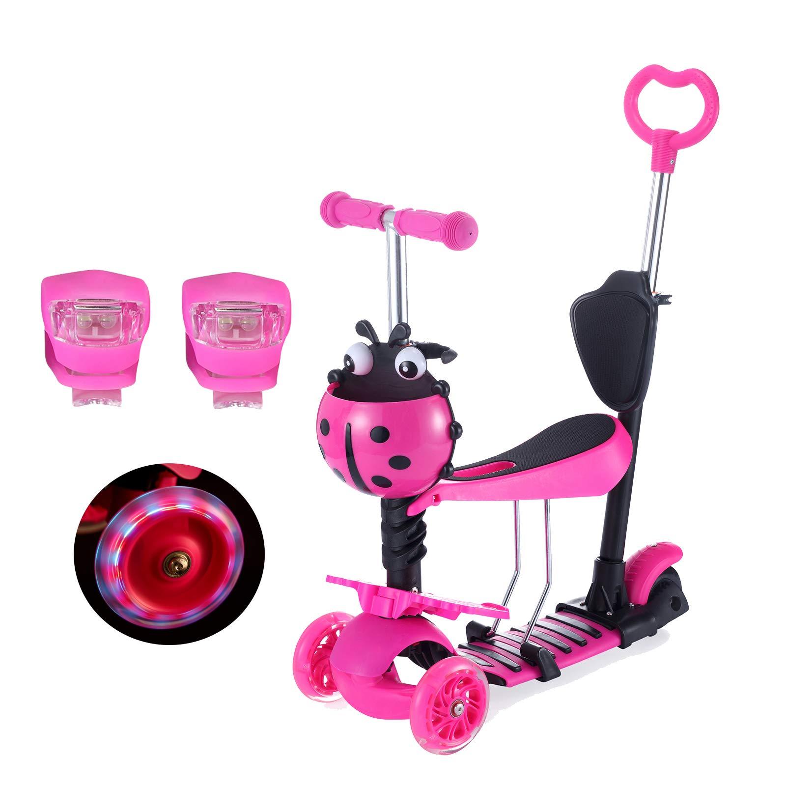 Yorbay - Patinete Scooter freestyle 3 en 1 Walker Trole Scooter, 3 Ruedas de LED, Altura ajustable con 1 cesta del escarabajo y 2 luces de rana para Niño ...