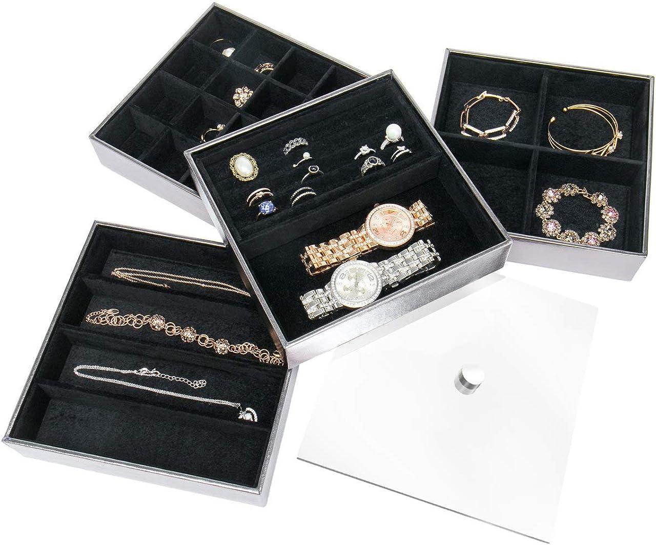 JackCubeDesign Set de 4 plateau /à bijoux en cuir empilable avec miroir couvercle de boucle doreille Collier Bracelet organisateur daffichage bo/îte de rangement argent, 18 x 18 x 17 cm - MK409B