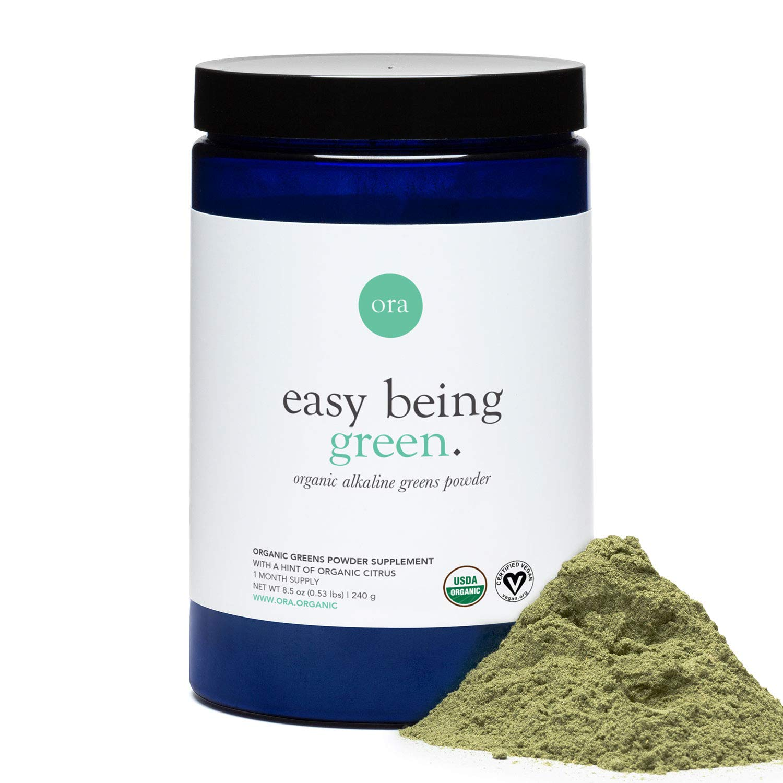 Ora Organic Green Juice Superfood Powder - Vegan, Gluten-Free, Organic Green Detox Supplement - Antioxidants & Adaptogenic Herbs - 20+ Super Greens Vegetable Powder Blend - 30 Servings, Citrus Flavor