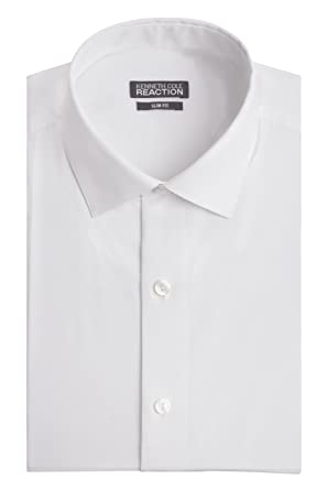 Kenneth Cole Mens Dress Shirts Slim Fit Solid Chambray Spread ...