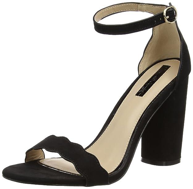 Miss Selfridge Scallop Sandali con Cinturino alla Caviglia Donna Nero
