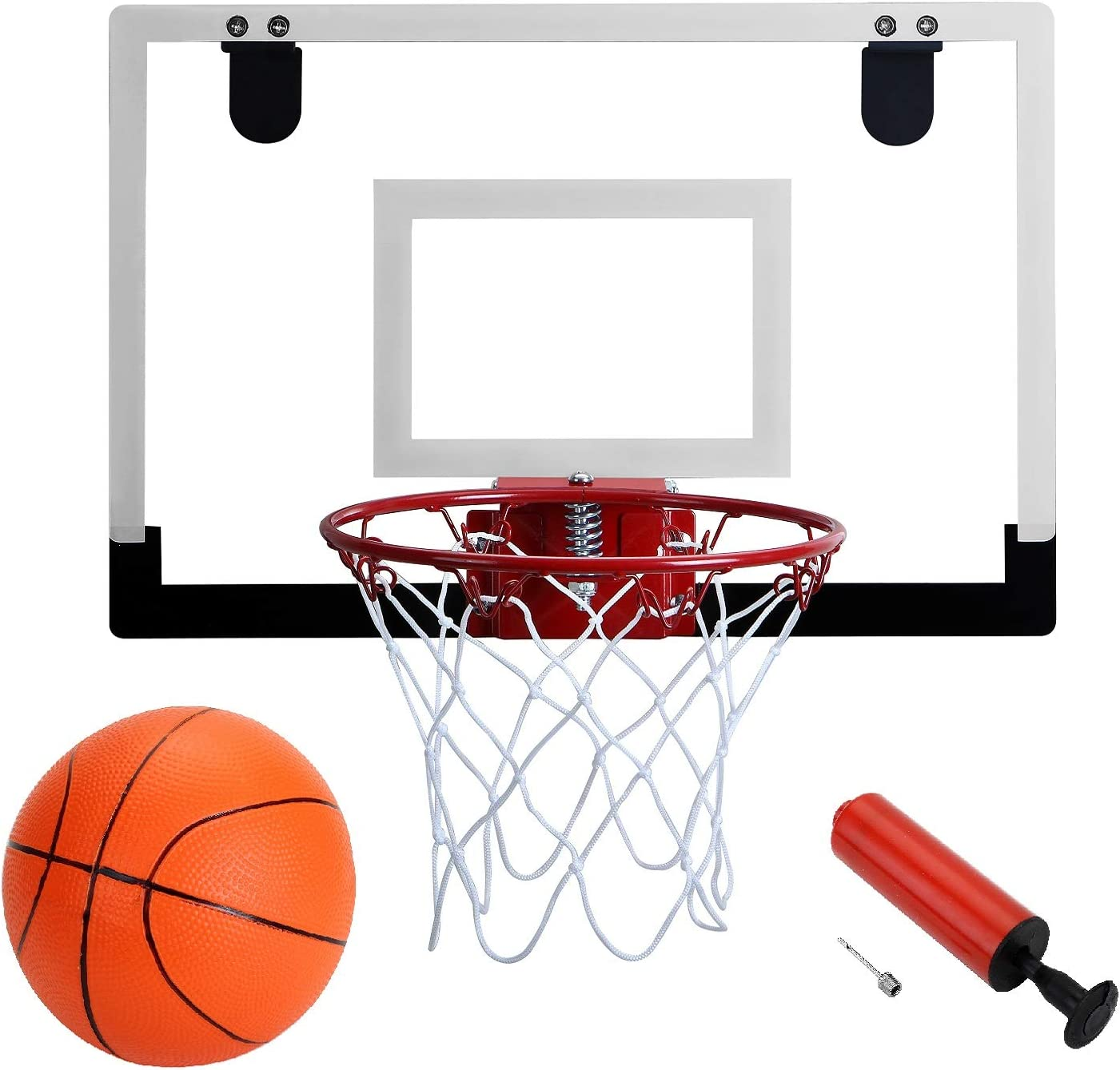 Amazon Com Door Hanging Mini Basketball Hoop Win Sports With Breakaway Steel Rim Includes 5 Mini Basketballs And Hand Pump With Needle 18x12 Inches Sports Outdoors