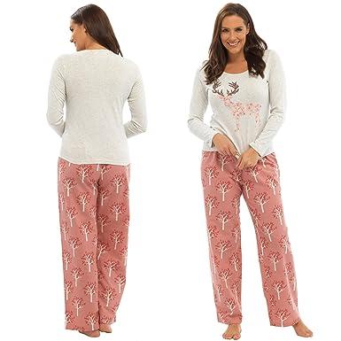 1104262bbf Ladies Pyjama Set Deer Design Cream Top   Woodland Print Pink Trousers UK  16-18  Amazon.co.uk  Clothing