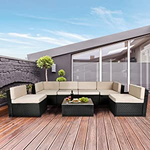 U-MAX 7 Piece Outdoor Patio Furniture Set, Black PE Rattan Wicker Sofa Set, Outdoor Sectional Furniture Chair Set with Cushions and Tea Table, Black
